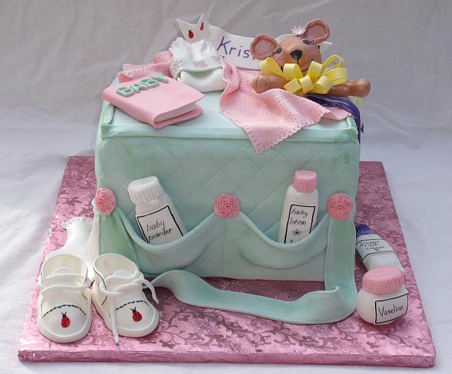 Baby Diaper Bag Cake front view