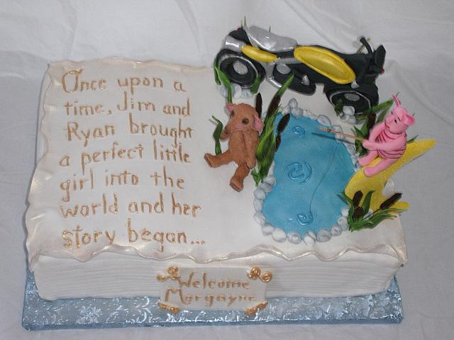 Baby Story Book top view of cake