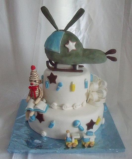 Baby Boy Cake with Edible Helicopter as well as  Edible Sock Monkey, Bow, Train, Baby Rattles, Baby Bottles - main view