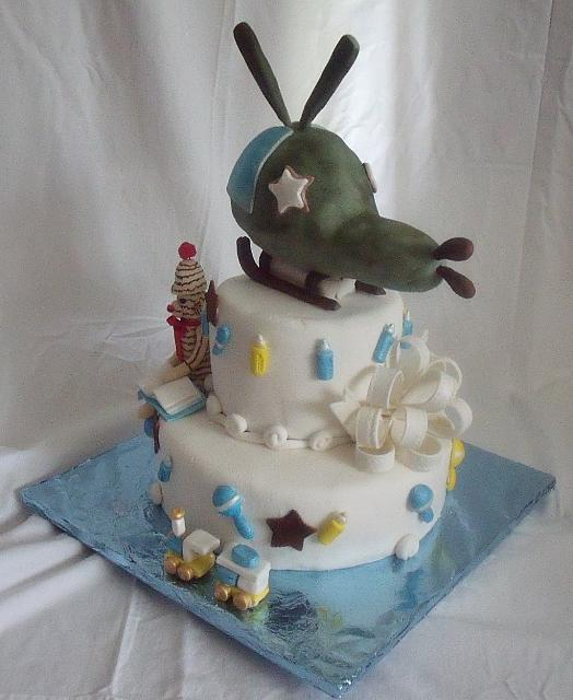 Baby Boy Cake with Edible Helicopter as well as  Edible Sock Monkey, Bow, Train, Baby Rattles, Baby Bottles - view 1