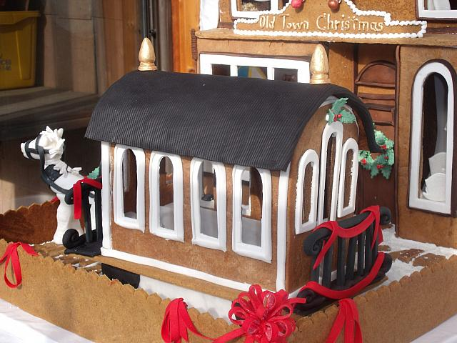 Close up of gingerbread trolley