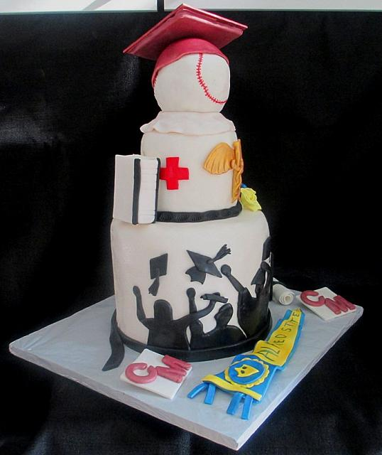 Cake Decorating Medical Theme : GraduationBaseballMedicalThemeCakeLeftSide