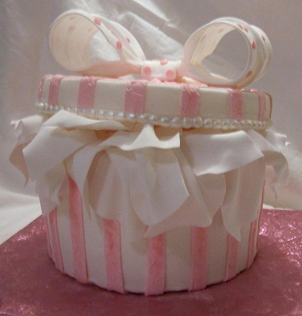 Front of pink hatbox or giftbox cake
