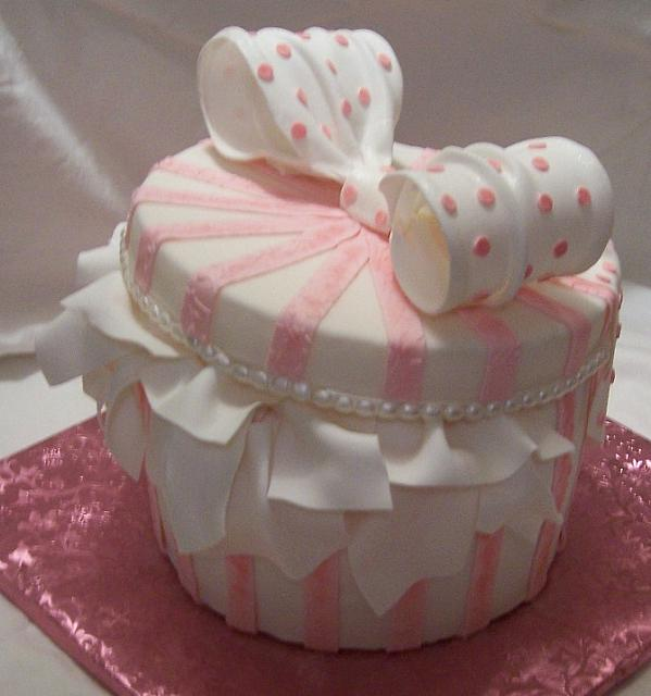 Side of pink Hatbox or giftbox cake - gumpaste bow