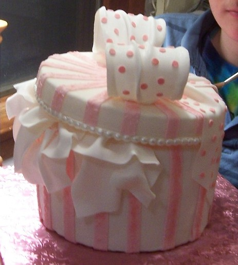 Pink Hat Box or Gift Box cake - Fondant and Gumpaste
