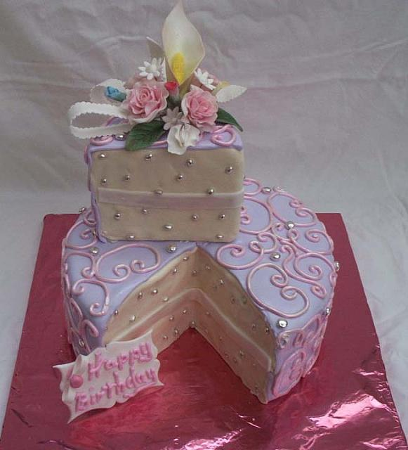 Birthday Cake Designs For A Lady : feminine birthday cake with single serving already cut and ...