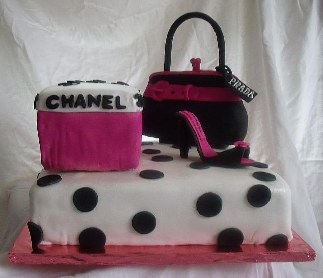 Hot Pink and Black Polka dot Shoebox, Purse, Shoe Cake front two view