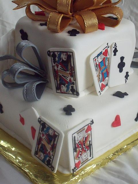 Poker Cake Or Playing Card Cake closeup 3