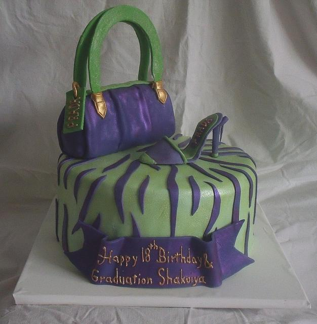 Purse Shoe Fashion Zebra striped cake