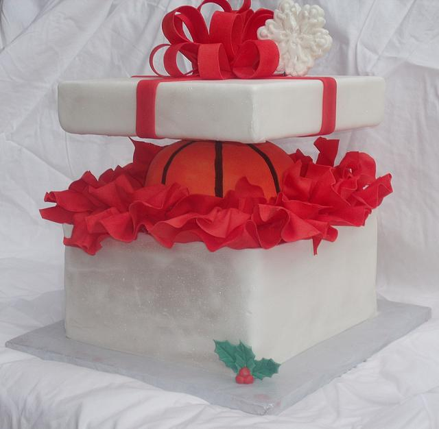 Basketball Present Cake or Sports Cake front view
