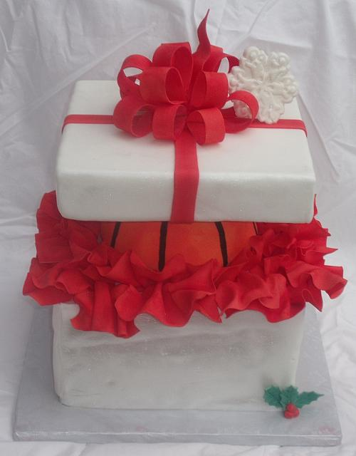 Basketball Present Cake or Sports Cake top view