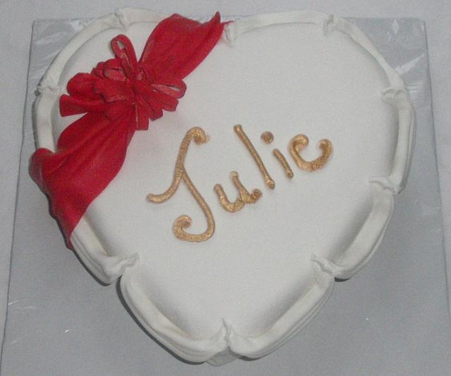 Heart Shaped Fondant Covered Cake Top View