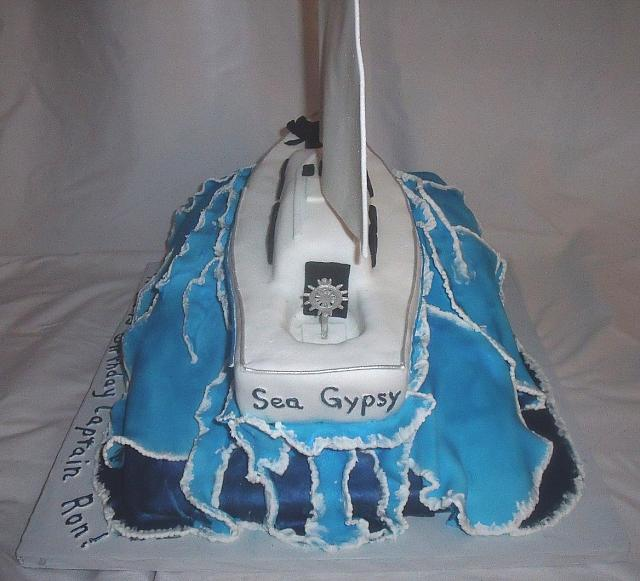 Nautical Yacht Boat on Sea Waves Cake with Edible Dog back view