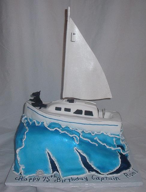 Nautical Yacht Boat on Sea Waves Cake with Edible Dog main view