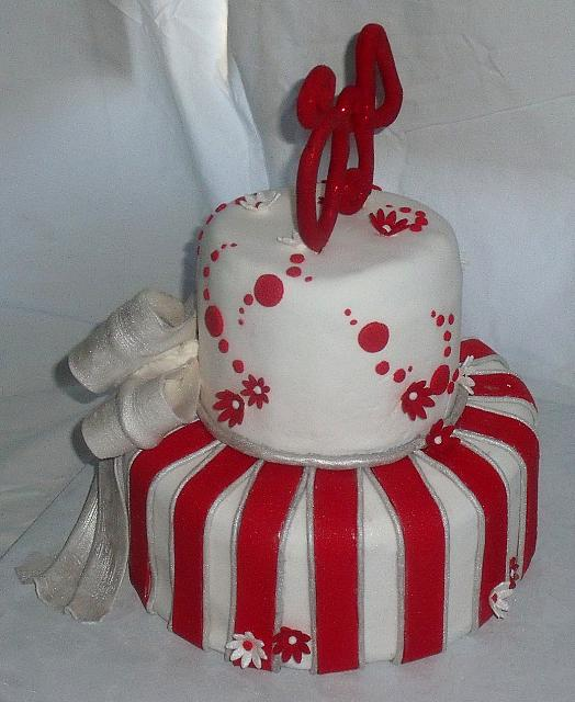 40th Anniversary Whimsical Silver Red Stripes Bow Cake back view