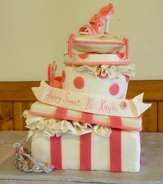 Stacked Presents with Pillow, Fashion Shoe, Silver Tiara Princess Cake main view
