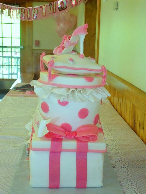 Stacked Presents with Pillow, Fashion Shoe, Silver Tiara Princess Cake side 2