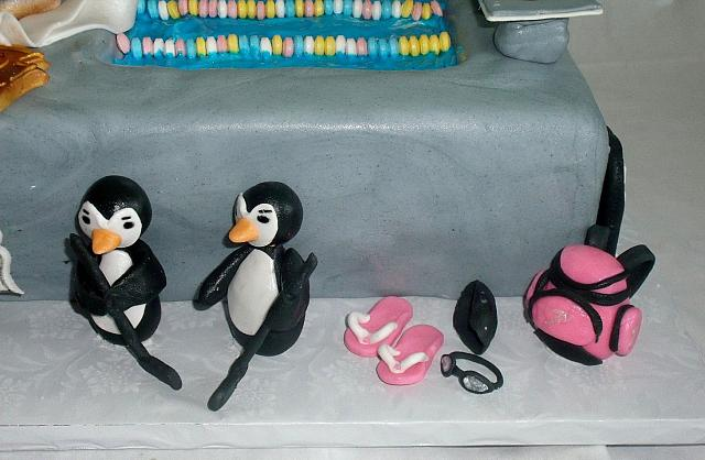 Edible gumpaste swim bag or back pack, swim goggles, flip flops, penguins