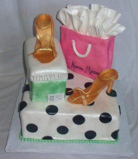 Fashionista or Fashion Cake with Shopping Bag, Gold Shoes, Shoebox top view