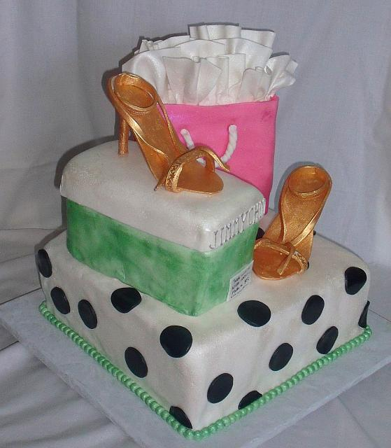 Fashionista or Fashion Cake with Shopping Bag, Gold Shoes, Shoebox view 1