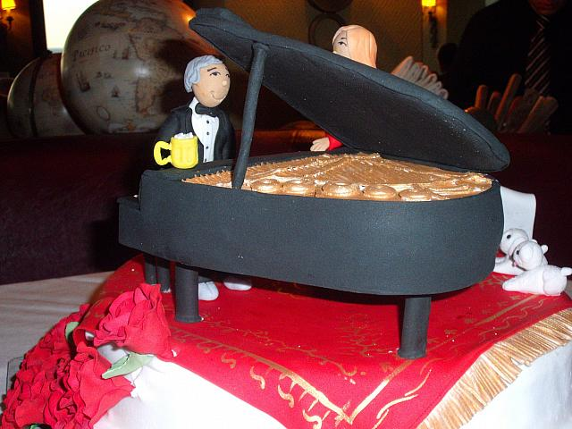50th Anniversary Cake Man Playing Piano front view