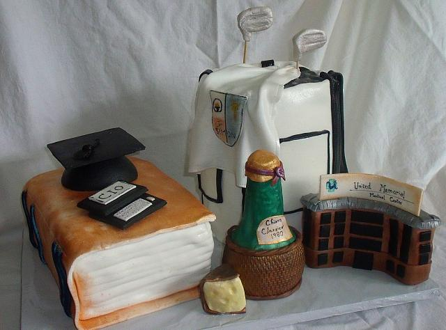 College Graduation Cake with Golf Bag Cake, Book Cake, Wine Bottle, Hospital Building Facade, Cheese, Droid Computer, Graduation Cap main view