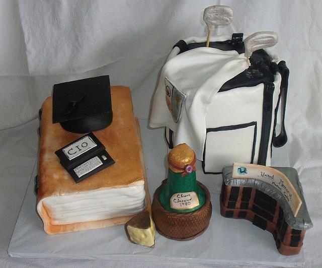 College Graduation Cake with Golf Bag Cake, Book Cake, Wine Bottle, Hospital Building Facade, Cheese, Droid Computer, Graduation Cap top view