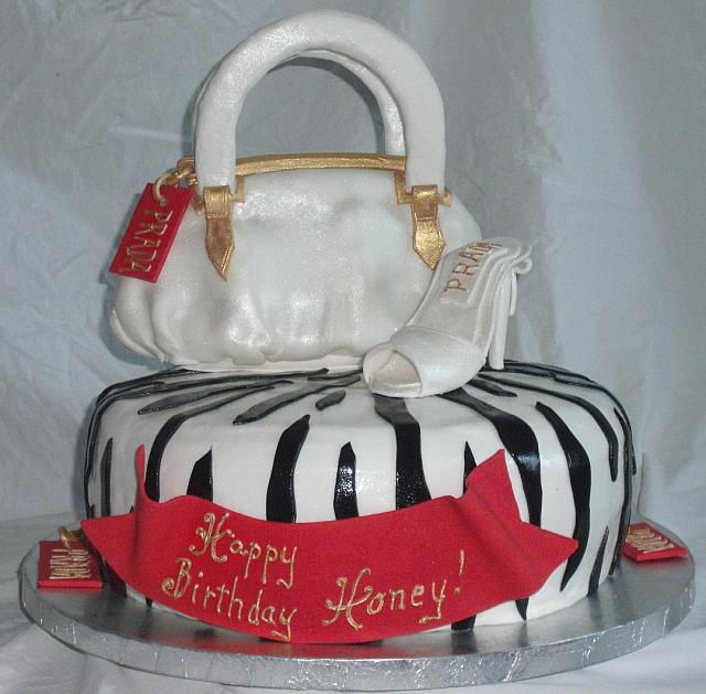 Red and White Purse, Shoe, Black Zebra Striped Cake main view