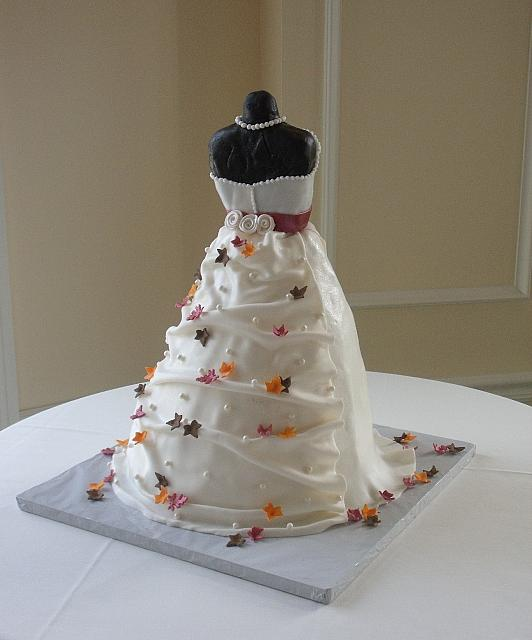 Bridal Shower Dress Cake with Miniature Fall or Autumn Leaves back view