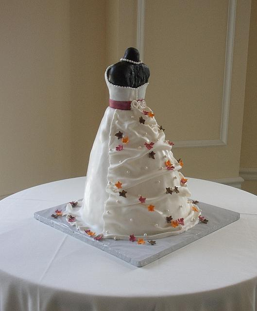 Bridal Shower Dress Cake with Miniature Fall or Autumn Leaves back view 2