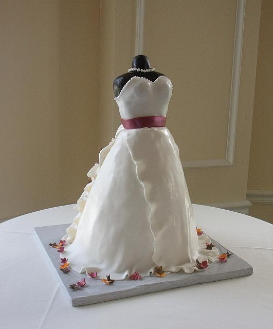 Bridal Shower Dress Cake with Miniature Fall or Autumn Leaves front view