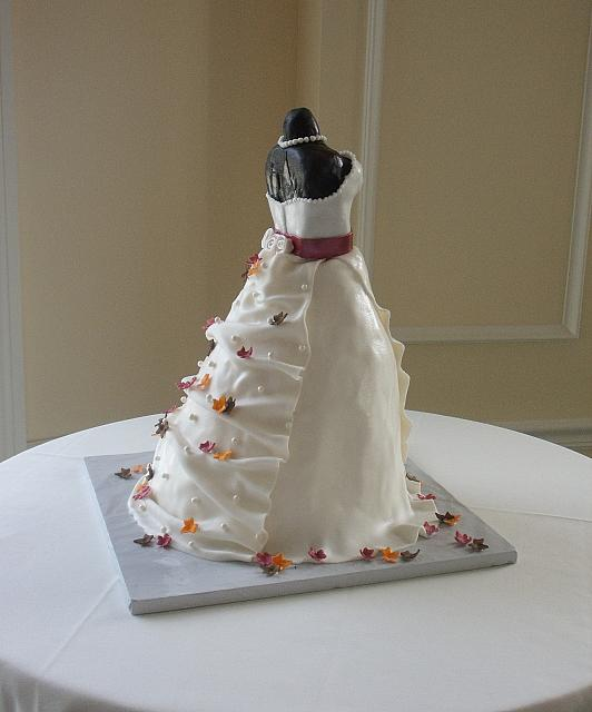 Bridal Shower Dress Cake with Miniature Fall or Autumn Leaves back right side
