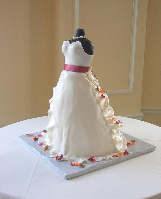 Bridal Shower Dress Cake with Miniature Fall or Autumn Leaves front left side
