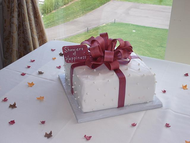Bridal Shower Present Cake with Oyster-colored Edible Pearls, Gift Tag, Cranberry Ribbon and Bow