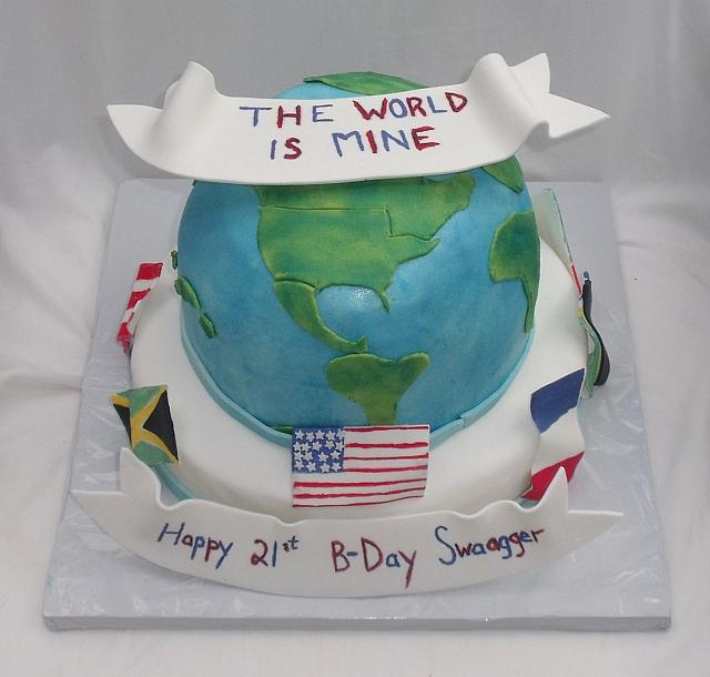 Globe And International Flags Cake main view