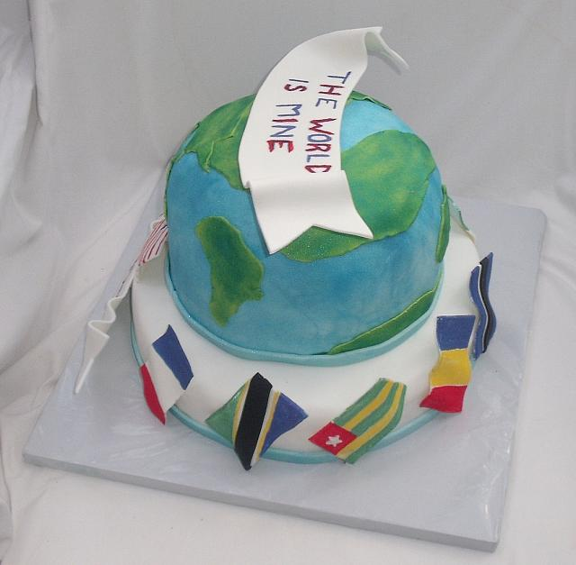 Globe And International Flags Cake view 1