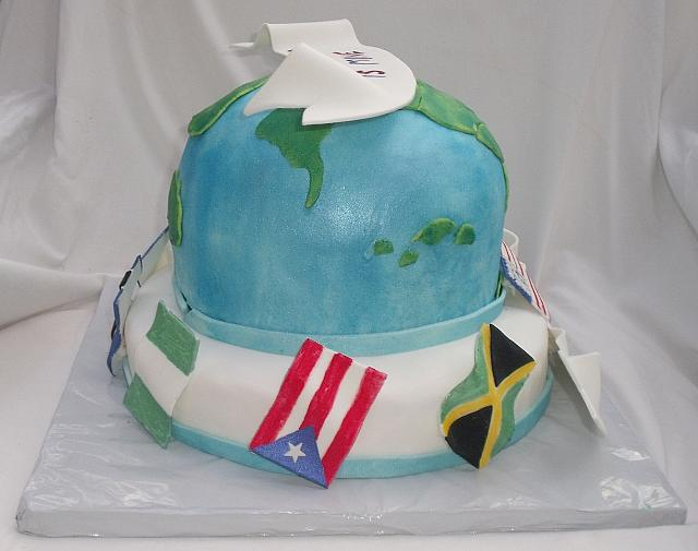 Globe And International Flags Cake view 3