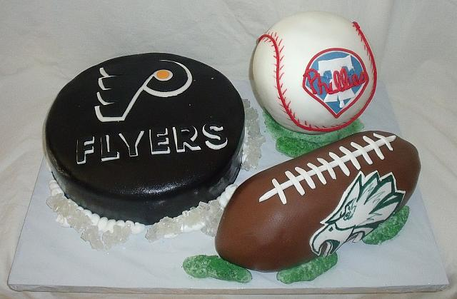 Sports Theme Cake with Philadelphia Teams Flyers, Phillies, Eagles main view