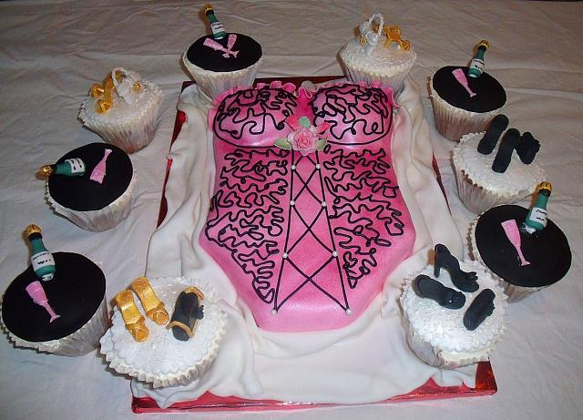 Corset or Lingerie Bridal Shower Cake with Cupcakes view 2