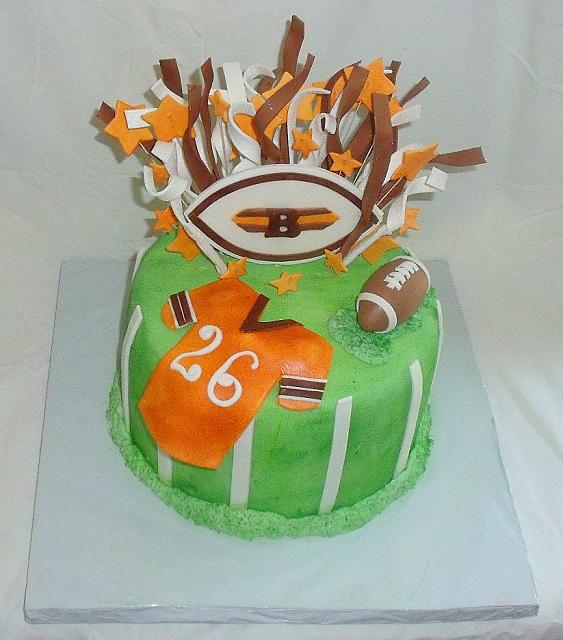 Football Theme Fondant Cake of Cleveland Browns top view