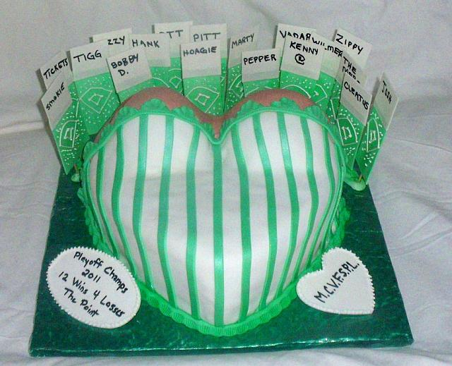 Baseball Themed Fondant Cake with Woman's Bust and Edible Baseball Tickets view 1