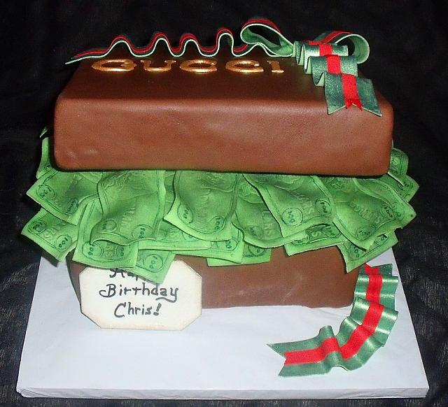 Fondant Present Cake Full of Edible Money with Designer Label front view