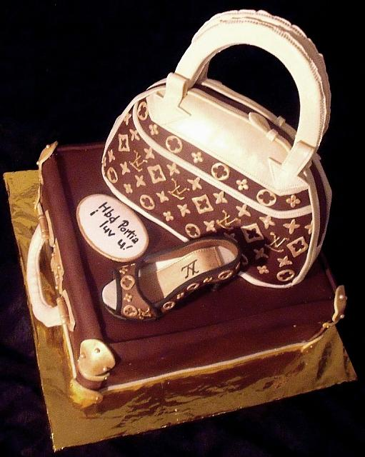 Fashionista Fondant Cake with Edible Louis Vuitton Luggage, Purse, and Shoe top view