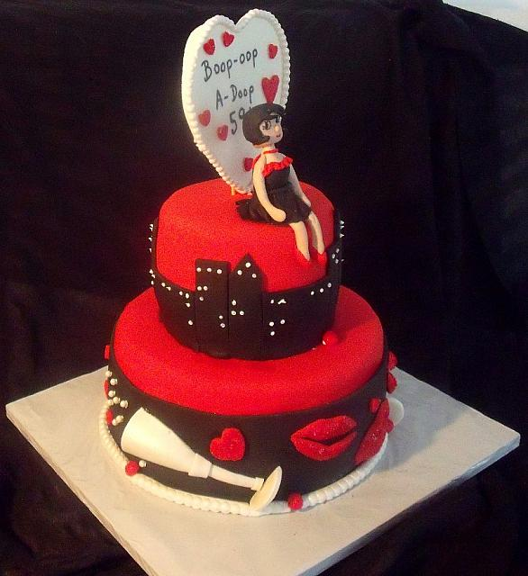 Betty Boop Birthday Celebration Fondant Cake view 2