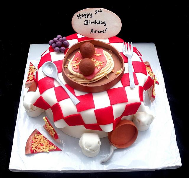 Pizza and Italian Food Themed Fondant Cake with Edible Chef Hats, Copper Pots, Grapes, Spagetti main view