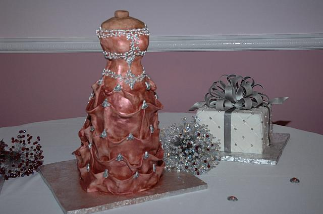 Bridal Dress Cake and Present Cake - to see many more pictures of this cake, go to the Wedding Cakes button/section