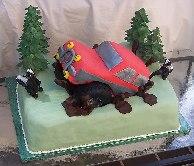 Groom's Cake with Off Road Truck and gumpaste skunks and trees