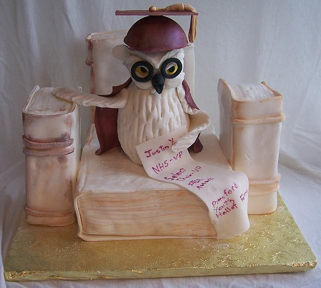 Graduation Cake With Owl And Books - all decorations are edible.