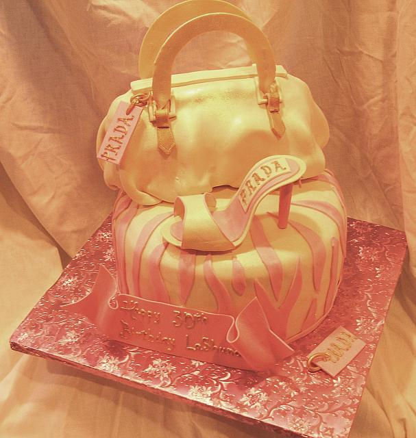 Pink and Ivory Designer Purse Cake with designer shoes and zebra striped cake - Top view