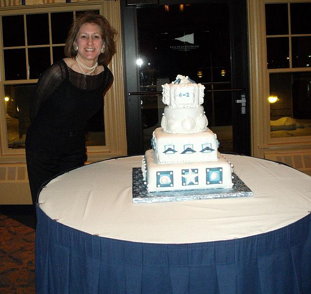 Tanya Standing With Nautical Cake